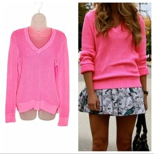 J Crew neon pink open woven knit v-neck sweater